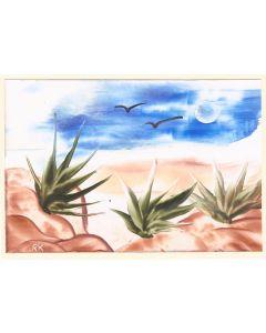 Grußkarte Aloe Vera Landschaft - Querformat - Handarbeit