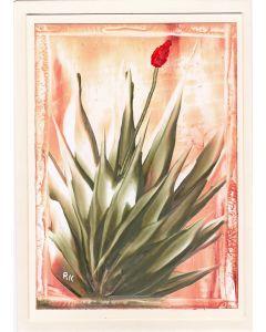Grußkarte Aloe Vera Pflanze - Hochformat - Handarbeit